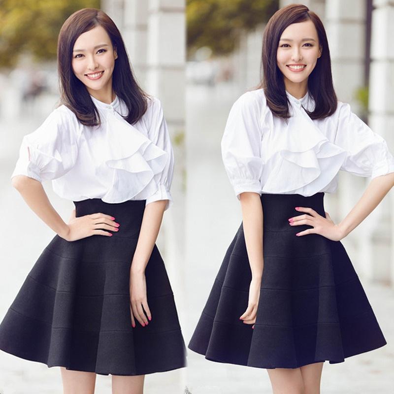 杨幂刘雯刘诗诗娜扎宋慧乔亲身示范 穿白衬衫搭半裙才是真女神