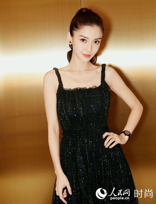 Angelababy亮相华表奖 黑色吊带星空裙优雅别致