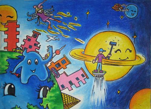 一等奖的画,二年级画画大全一等奖,太空画画全国